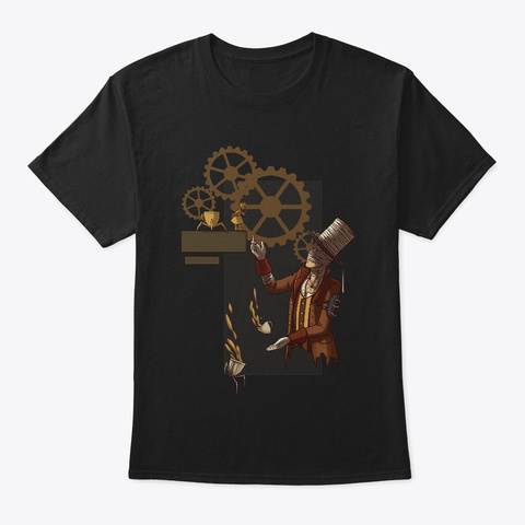 Steampunk Mad Hatter Black T-Shirt Front