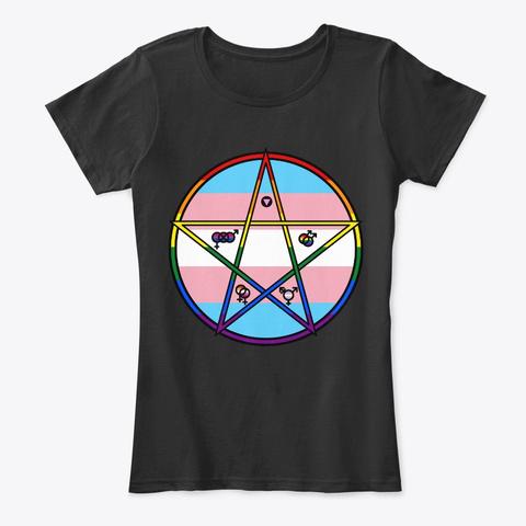 Queer Pentagram Transgender Black T-Shirt Front