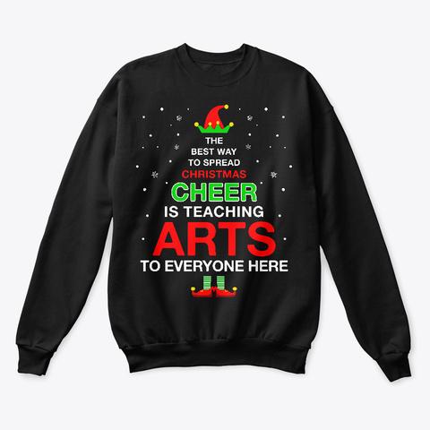 Funny Christmas Elf For Arts Teacher Black T-Shirt Front