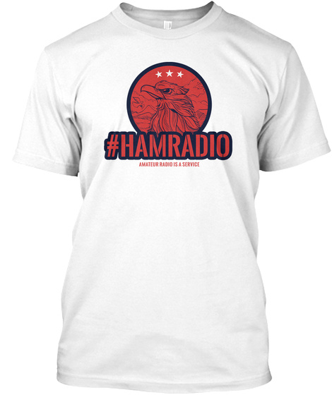 4th July U.S. Ham Radio T Shirt Patriotic White T-Shirt Front