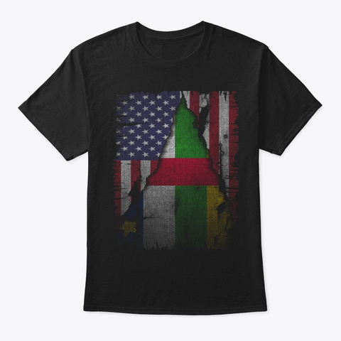 Us And Central African Republic Gift Black T-Shirt Front