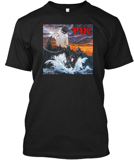 Pug Black T-Shirt Front