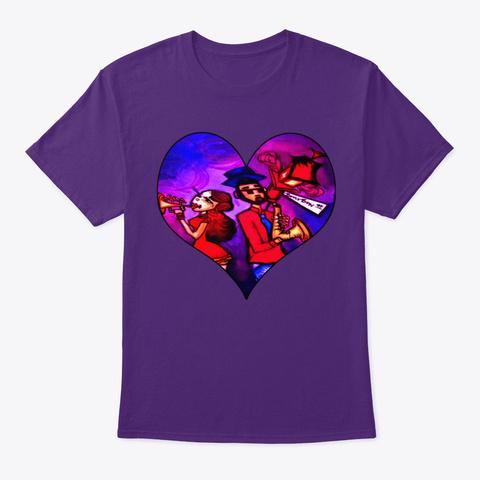 Bourbon St. Music Duo Purple T-Shirt Front
