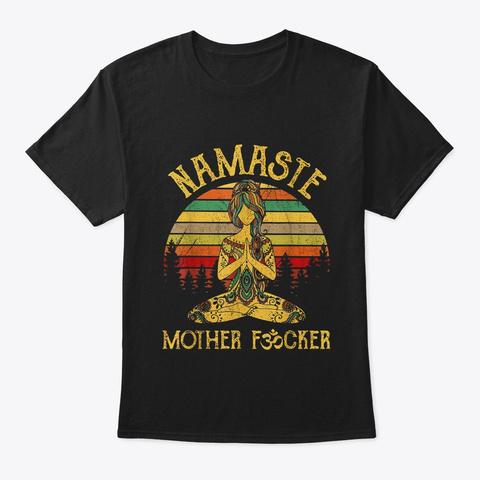 Yoga Namaste Mother  Black T-Shirt Front