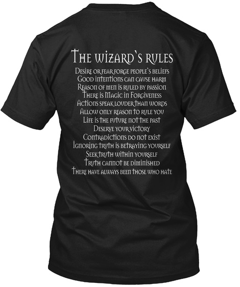 Wizards Rules Limited Edition Black T-Shirt Back