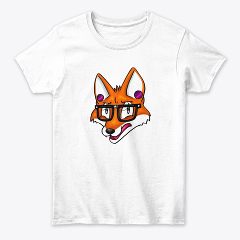 Hipster,Red Fox,Sunglasses White T-Shirt Front