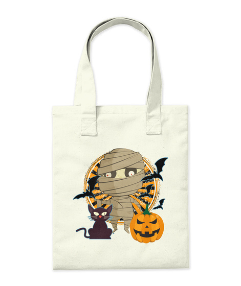 Halloween Tote Mummy Natural Borsa di Tela Back
