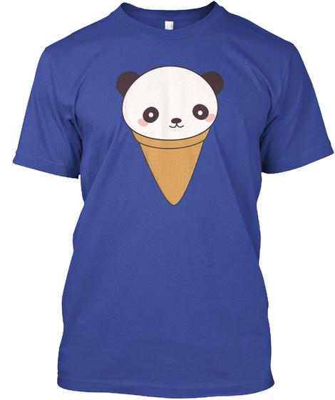 Kawaii Cute Panda Ice Cream Deep Royal T-Shirt Front