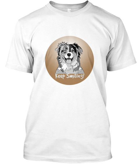 Critter Kin Keep Smiling Cooper White T-Shirt Front