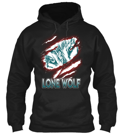 Wolf Lovers Hoodie Shirt Black T-Shirt Front