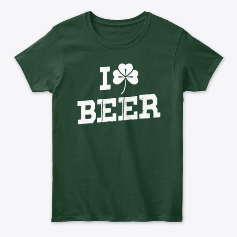 Irish Ancestry I Love Beer Forest Green T-Shirt Front
