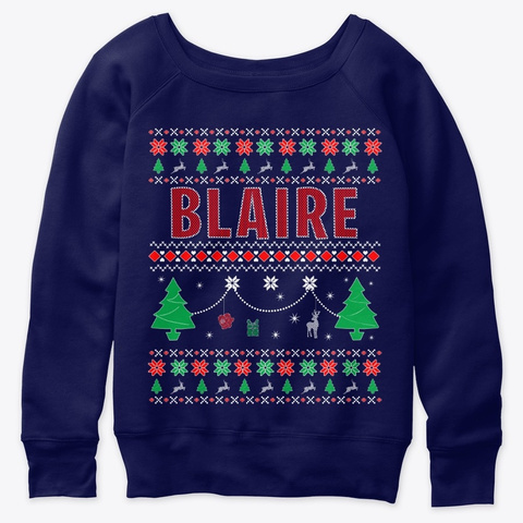 Xmas Themed Personalized For Blaire Navy  T-Shirt Front