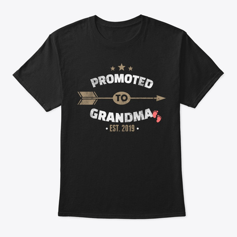 Promoted To Grandma 2019 Baby Shower Black T-Shirt Front