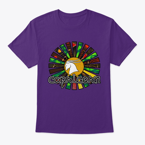 Capricorn Rasta Sunrays 3 Purple T-Shirt Front