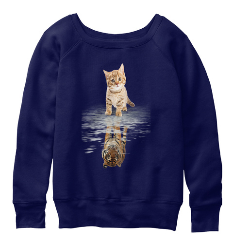 Cat And Tiger!  Hoodies! Navy  T-Shirt Front