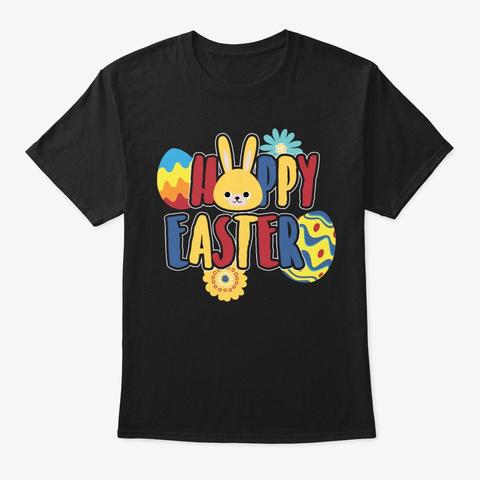 Hoppy Easter Bunny Rabbit Cute Boys Girl Black T-Shirt Front