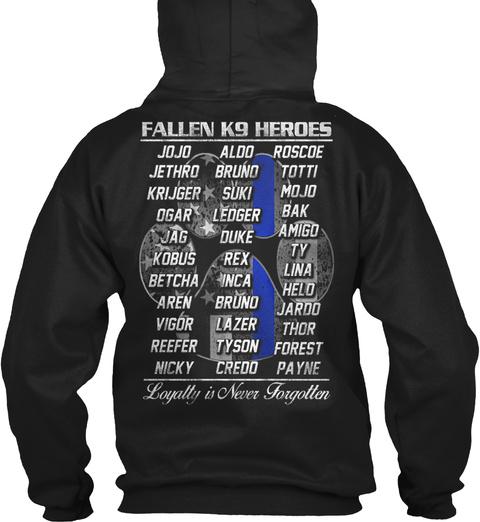 Fallen K9 Heroes Hoodie Black Sweatshirt Back