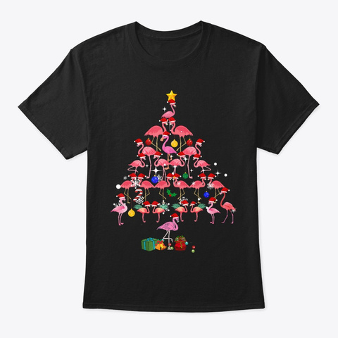 Funny Flamingo Christmas Tree T Shirt Black T-Shirt Front