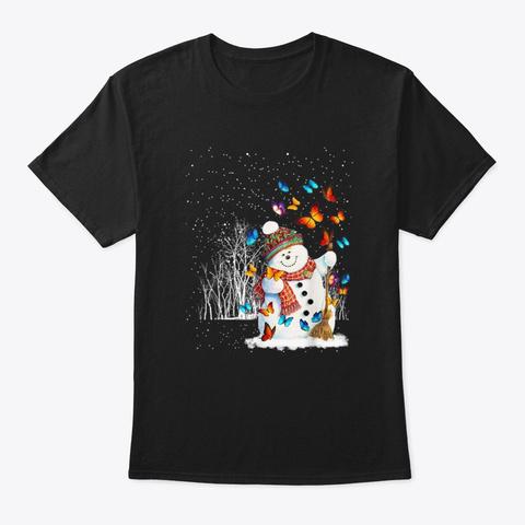 Butterfly Snowman Rain Forest Christmas Black T-Shirt Front