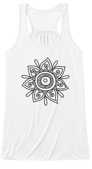 Yoga Flower Women's Tank Top White T-Shirt Front