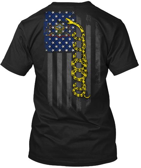 Pennsylvania Gadsden Flag Onyx Black T-Shirt Back