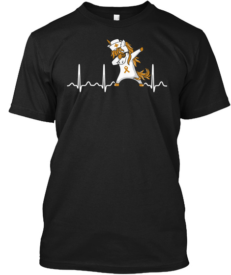 Childhood Cancer Unicorn Heartbeat Shirt Black T-Shirt Front