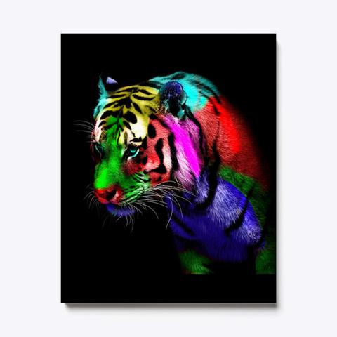 Rainbow Tiger Black T-Shirt Front