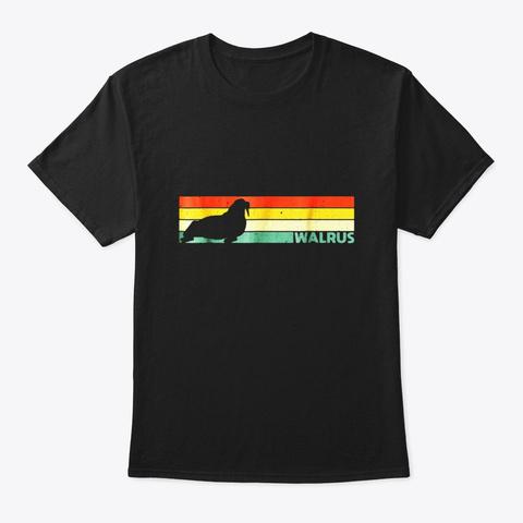 Walrus T Shirt Retro Vintage Walrus Sea Black T-Shirt Front