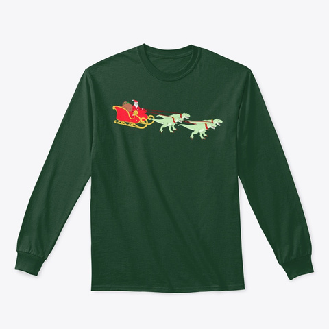 Christmas Holiday T Rex Xmas Dinosaur Forest Green T-Shirt Front