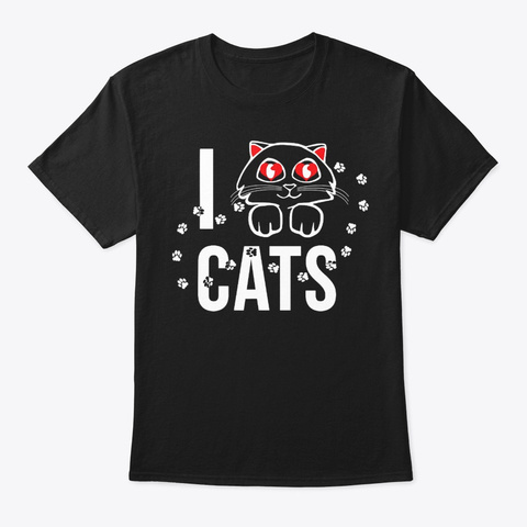 Cat Tee For Women And Girls I Love Cats Black T-Shirt Front