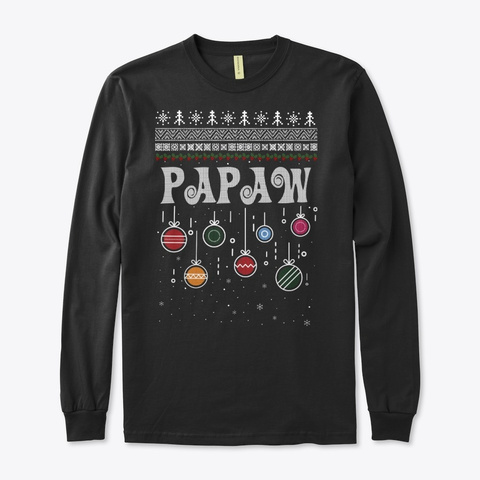 Papaw Christmas Ugly Family Sweater Black T-Shirt Front