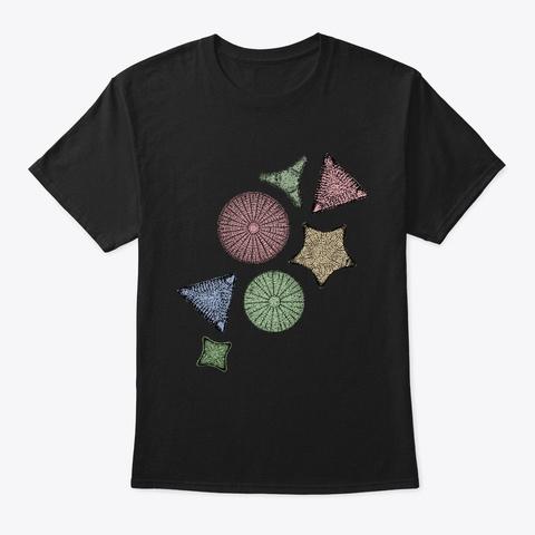 Diatom Marine Biology Art Black T-Shirt Front