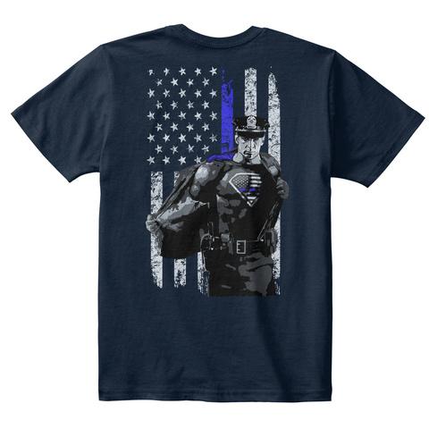 Real Superheroes Bleed Blue! *Kids* New Navy T-Shirt Back