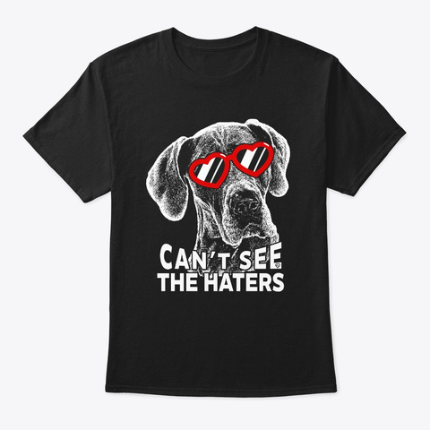 Great Dane Can't See T Shirt Black T-Shirt Front