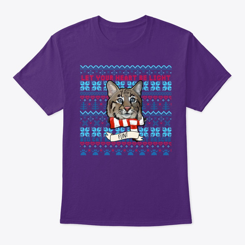 Not So Ugly Flint Bobcat Christmas Purple T-Shirt Front