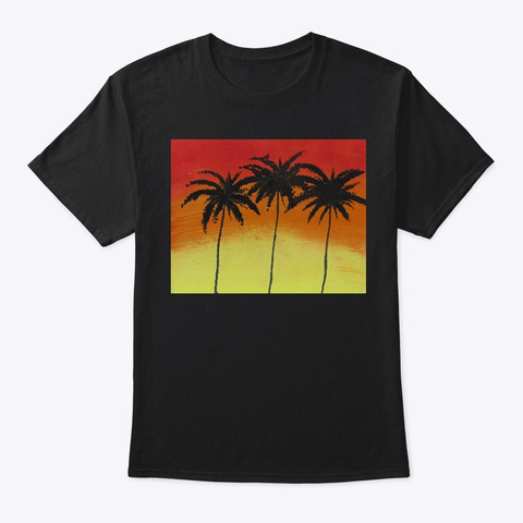 Palm Tree Black T-Shirt Front