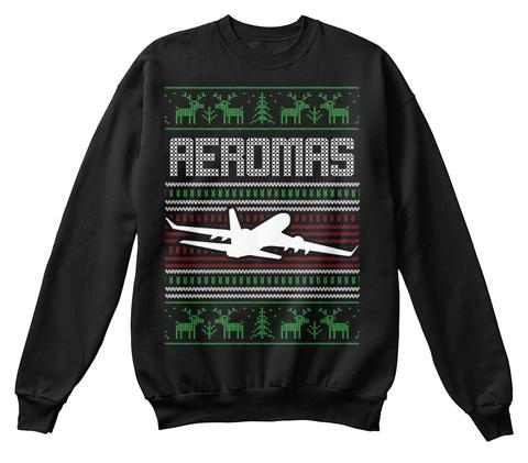 Pilot Ugly Christmas Sweatshirt Jet Black Sweatshirt Front