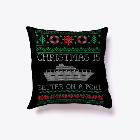 Boating Pontoon Boat Ugly Christmas Black T-Shirt Front