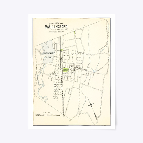 Wallingford, Ct Map White T-Shirt Front