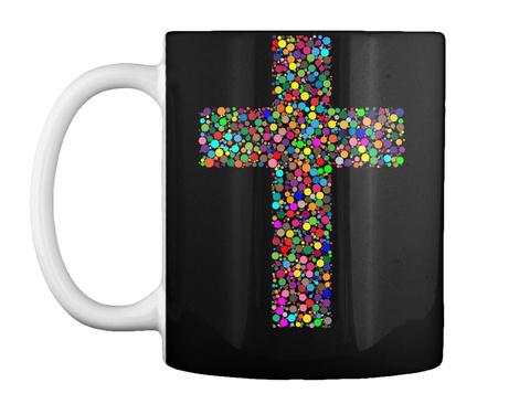 Colorful Cross Christian Coffee Mug Black Mug Front