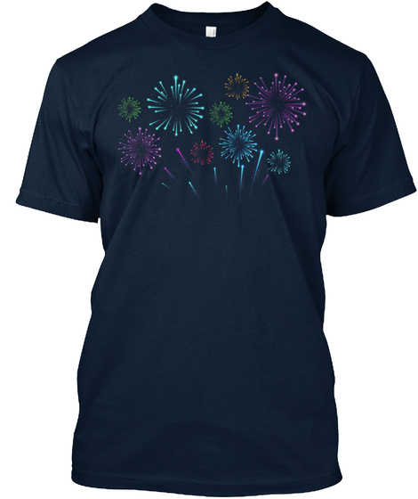 T Shirt Fireworks Independence Day Usa New Navy Maglietta Front