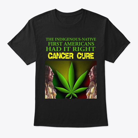 Cancer Cure Design Black T-Shirt Front
