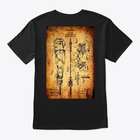 Arborist   Patent Art Chainsaw Poster Black T-Shirt Back