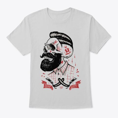 Deep Cuts Bearded Hipster Skull Light Steel T-Shirt Front