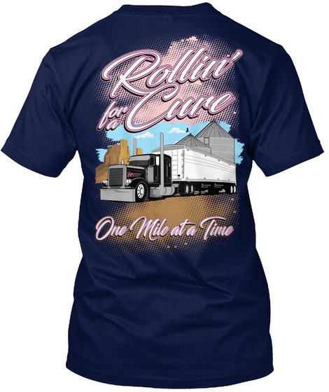 Rollin' For A Cure One Mile At A Time Navy T-Shirt Back