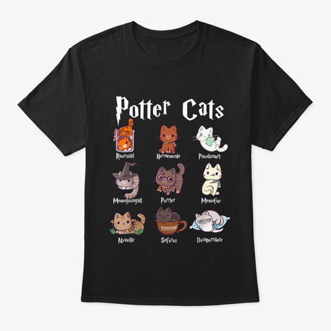 Humor Potter Cats Shirts Cute Harry Pawt Black T-Shirt Front