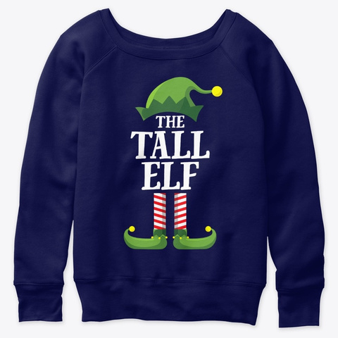 Tall Elf Matching Family Group Christmas Navy  T-Shirt Front