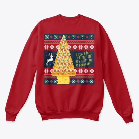 O Pizza Tree   Ugly Christmas Sweatshirt Deep Red  T-Shirt Front