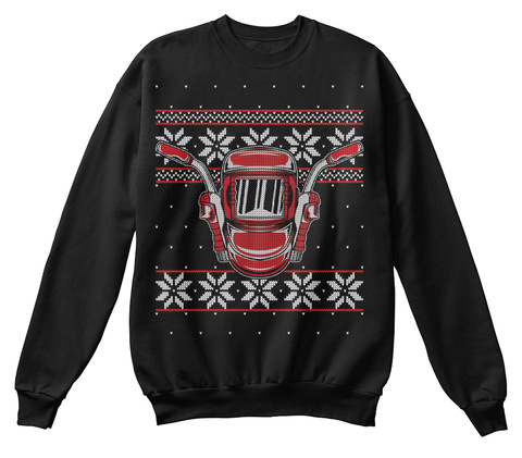 Barn Farm Farming Ugly Christmas Sweater Black T-Shirt Front
