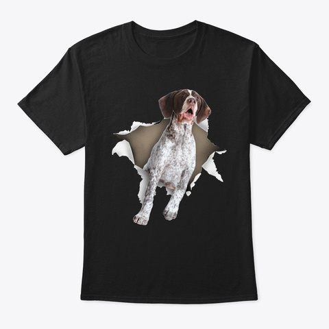 German Shorthaired Pointer Torn  Black T-Shirt Front